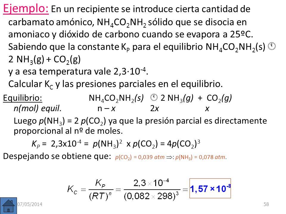 07/05/201457 Sin embargo, las concentraciones (n/V) de ambas sustancias sólidas (CaCO 3 y CaO) son constantes, al igual que las densidades de sustanci