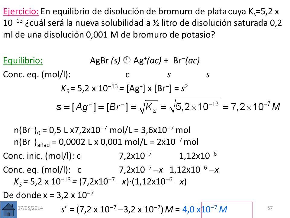 Ejemplo: ¿Cuál será la solubilidad del cloruro de plata si añadimos nitrato de plata hasta una concentración final 0,002 M? AgCl(s) Ag + (ac) + Cl (ac