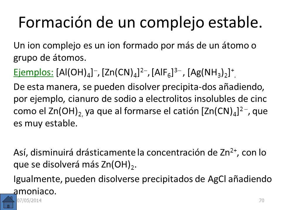 Cambio en la solubilidad por formación de una base débil. Suele producirse a partir de sales solubles que contienen el catión NH 4 +. NH 4 Cl(s) Cl (a