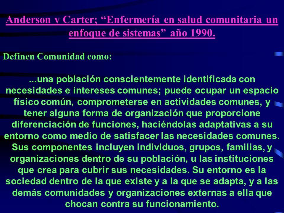 Anderson y Carter; Enfermería en salud comunitaria un enfoque de sistemas año 1990.