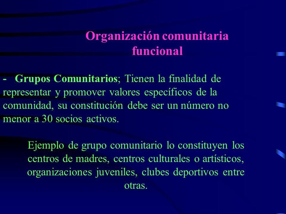 Organización comunitaria funcional - Grupos Comunitarios; Tienen la finalidad de representar y promover valores específicos de la comunidad, su constitución debe ser un número no menor a 30 socios activos.
