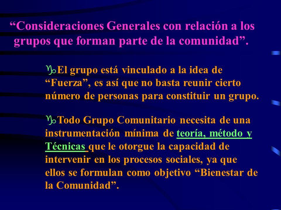 Consideraciones Generales con relación a los grupos que forman parte de la comunidad.
