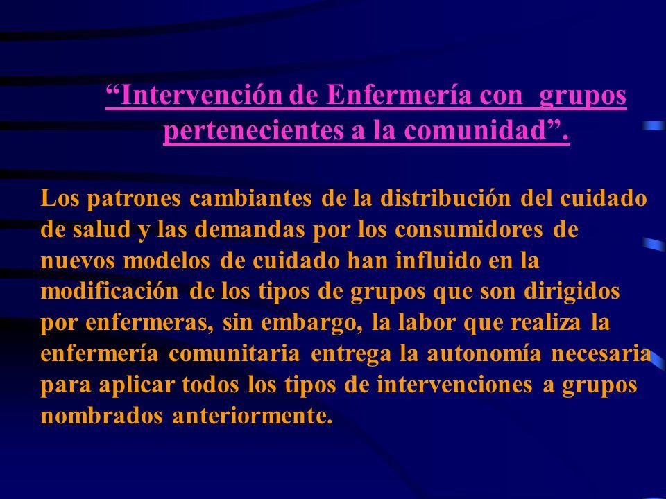 Intervención de Enfermería con grupos pertenecientes a la comunidad.