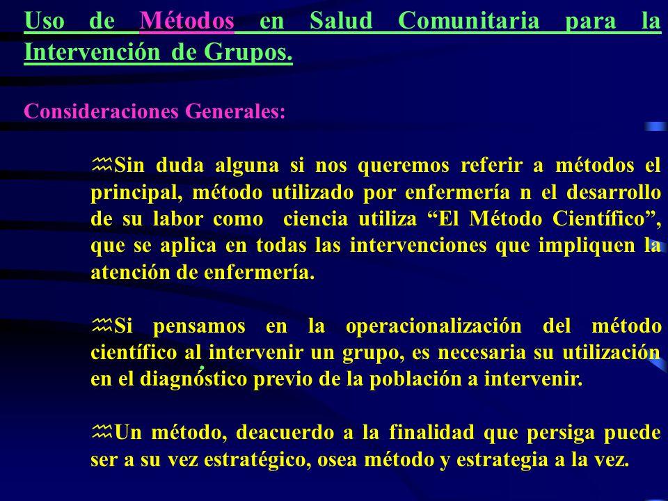 Uso de Métodos en Salud Comunitaria para la Intervención de Grupos.