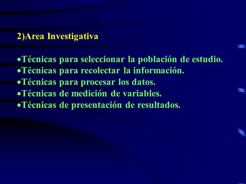 2)Area Investigativa Técnicas para seleccionar la población de estudio.