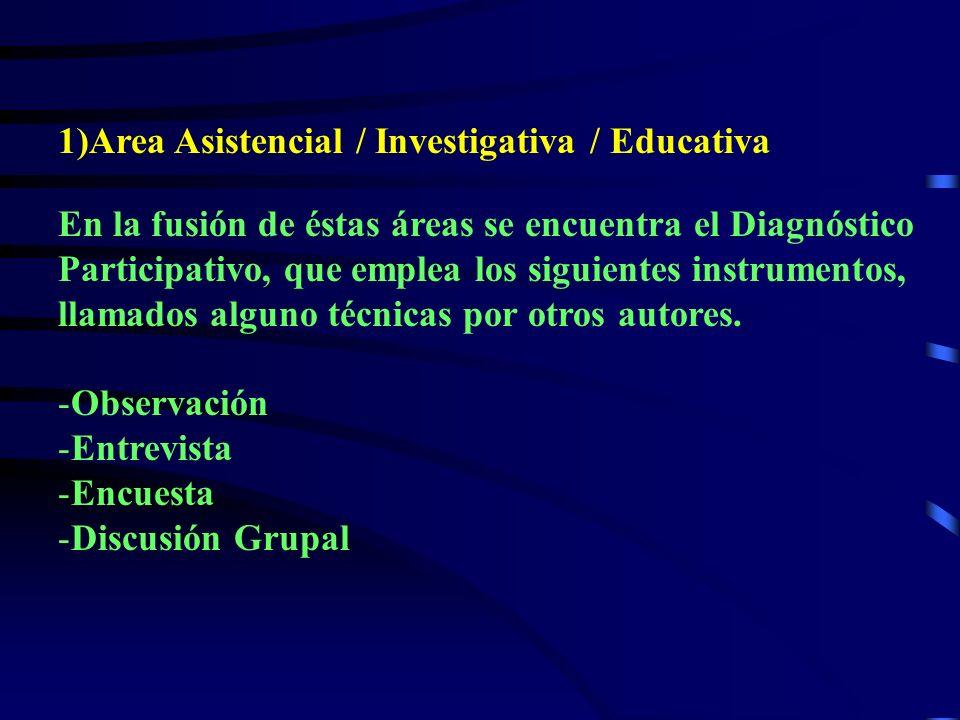 1)Area Asistencial / Investigativa / Educativa En la fusión de éstas áreas se encuentra el Diagnóstico Participativo, que emplea los siguientes instrumentos, llamados alguno técnicas por otros autores.