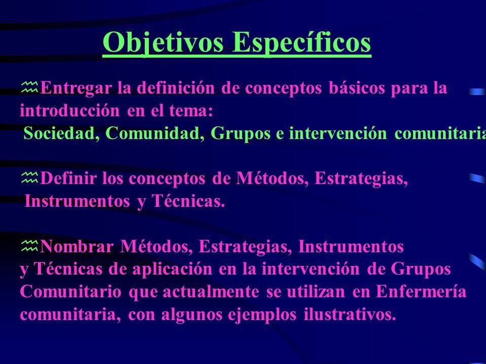 Objetivos Específicos hEntregar la definición de conceptos básicos para la introducción en el tema: Sociedad, Comunidad, Grupos e intervención comunitaria.