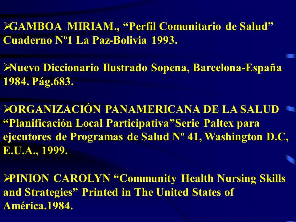 GAMBOA MIRIAM., Perfil Comunitario de Salud Cuaderno Nº1 La Paz-Bolivia 1993.