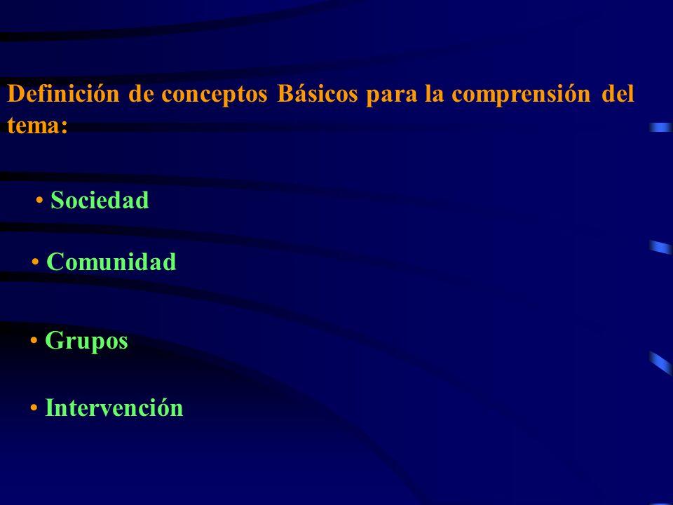 Definición de conceptos Básicos para la comprensión del tema: Sociedad Comunidad Grupos Intervención