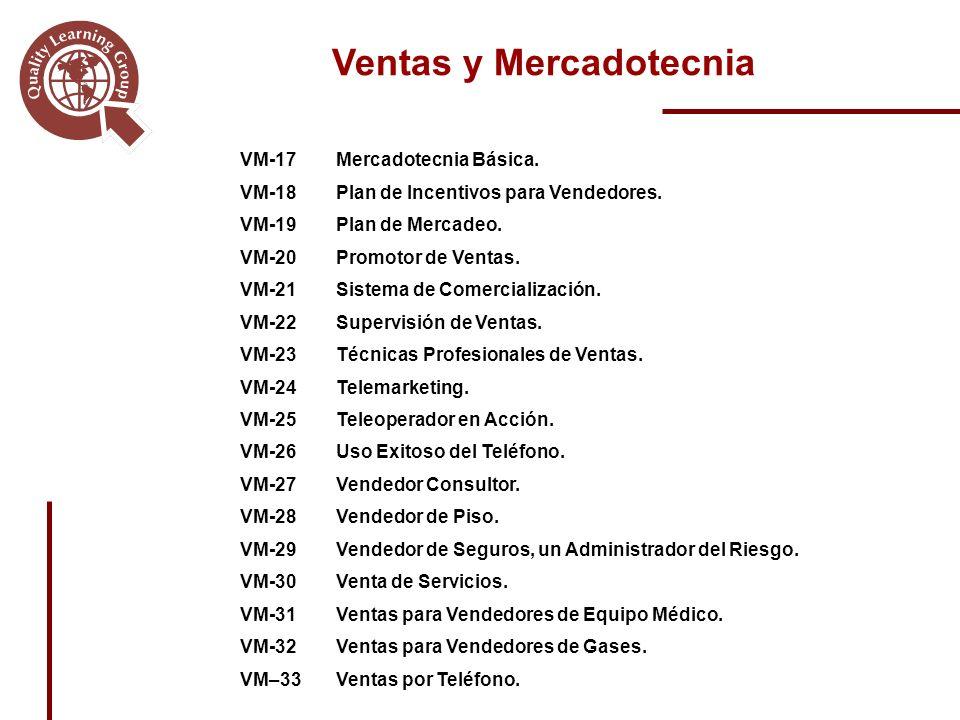 Ventas y Mercadotecnia VM-17Mercadotecnia Básica.VM-18Plan de Incentivos para Vendedores.