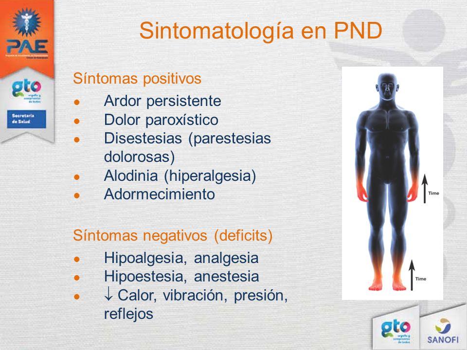Síntomas positivos Ardor persistente Dolor paroxístico Disestesias (parestesias dolorosas) Alodinia (hiperalgesia) Adormecimiento Síntomas negativos (