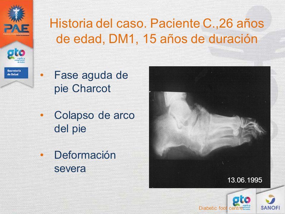 Historia del caso. Paciente C.,26 años de edad, DM1, 15 años de duración Diabetic foot centre Fase aguda de pie Charcot Colapso de arco del pie Deform