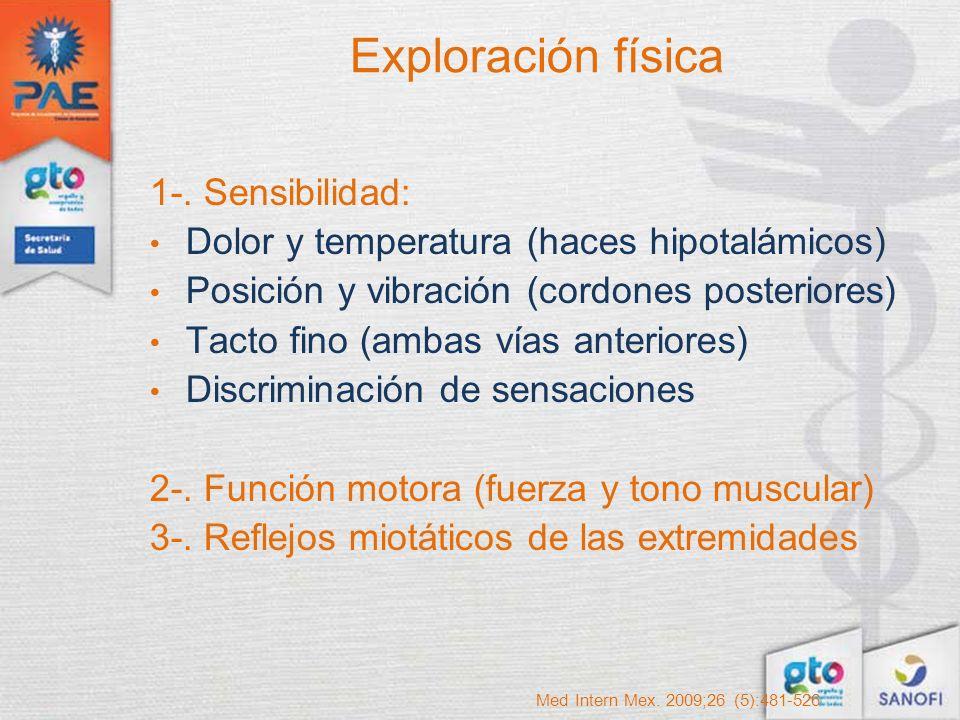 Exploración física 1-. Sensibilidad: Dolor y temperatura (haces hipotalámicos) Posición y vibración (cordones posteriores) Tacto fino (ambas vías ante
