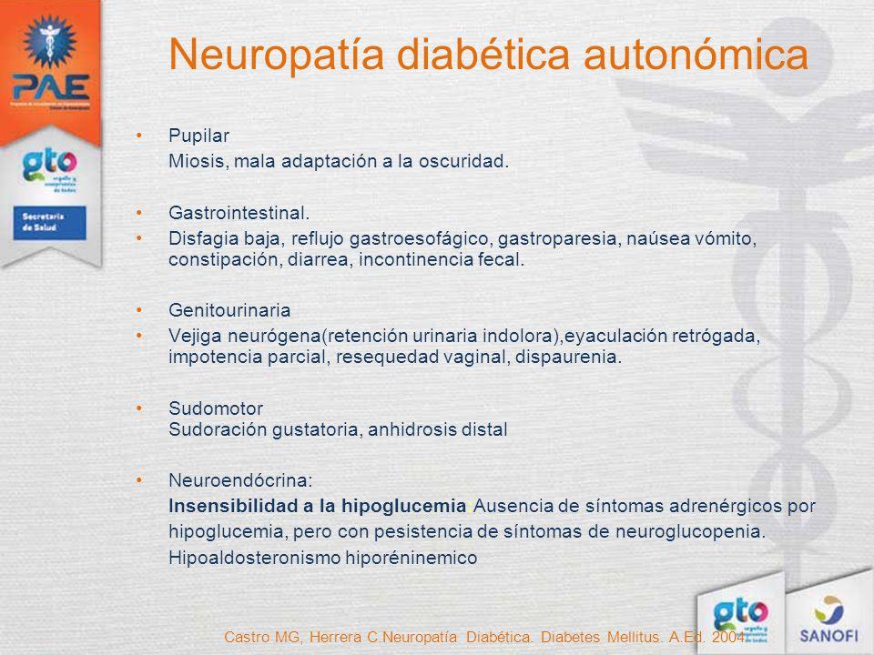 Neuropatía diabética autonómica Pupilar Miosis, mala adaptación a la oscuridad. Gastrointestinal. Disfagia baja, reflujo gastroesofágico, gastroparesi