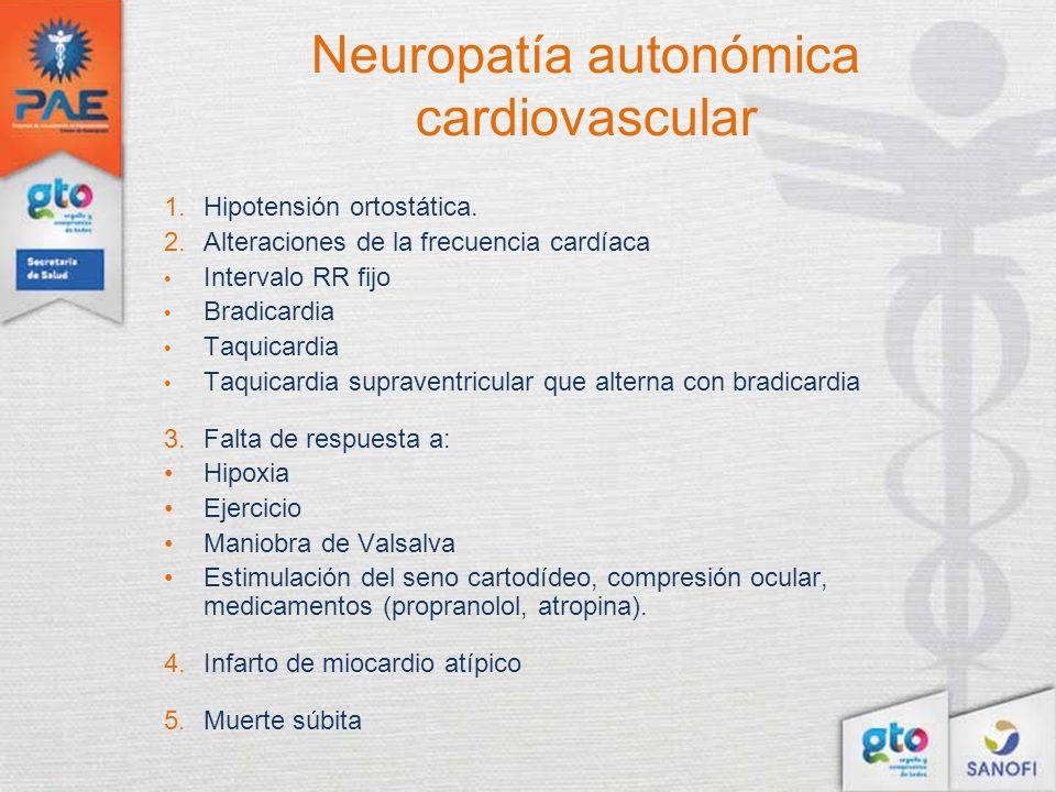 Neuropatía autonómica cardiovascular 1.Hipotensión ortostática. 2.Alteraciones de la frecuencia cardíaca Intervalo RR fijo Bradicardia Taquicardia Taq