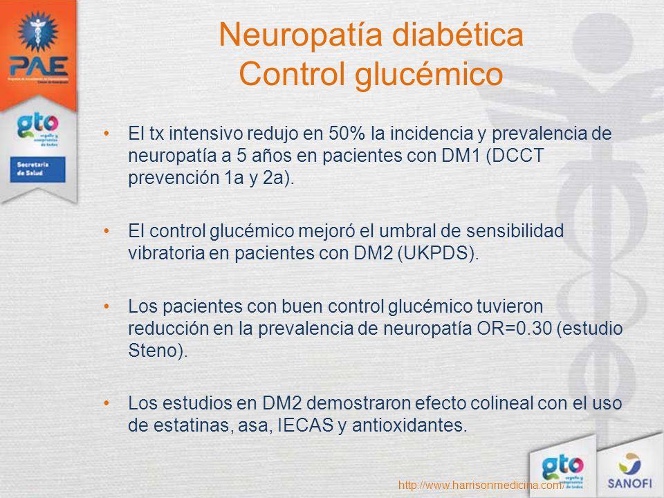 Neuropatía diabética Control glucémico El tx intensivo redujo en 50% la incidencia y prevalencia de neuropatía a 5 años en pacientes con DM1 (DCCT pre