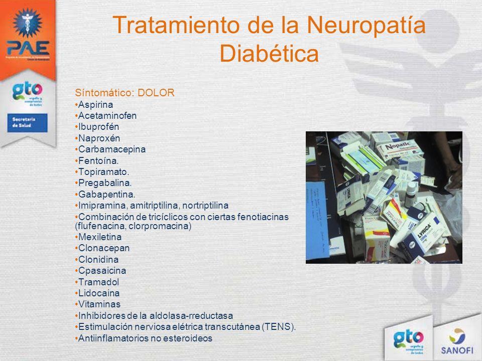 Tratamiento de la Neuropatía Diabética Síntomático: DOLOR Aspirina Acetaminofen Ibuprofén Naproxén Carbamacepina Fentoína. Topiramato. Pregabalina. Ga