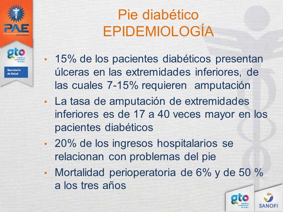 Pie diabético EPIDEMIOLOGÍA 15% de los pacientes diabéticos presentan úlceras en las extremidades inferiores, de las cuales 7-15% requieren amputación