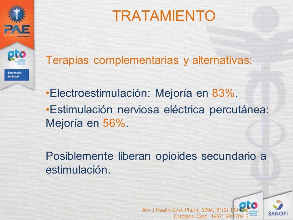 TRATAMIENTO Terapias complementarias y alternativas: Electroestimulación: Mejoría en 83%. Estimulación nerviosa eléctrica percutánea: Mejoría en 56%.
