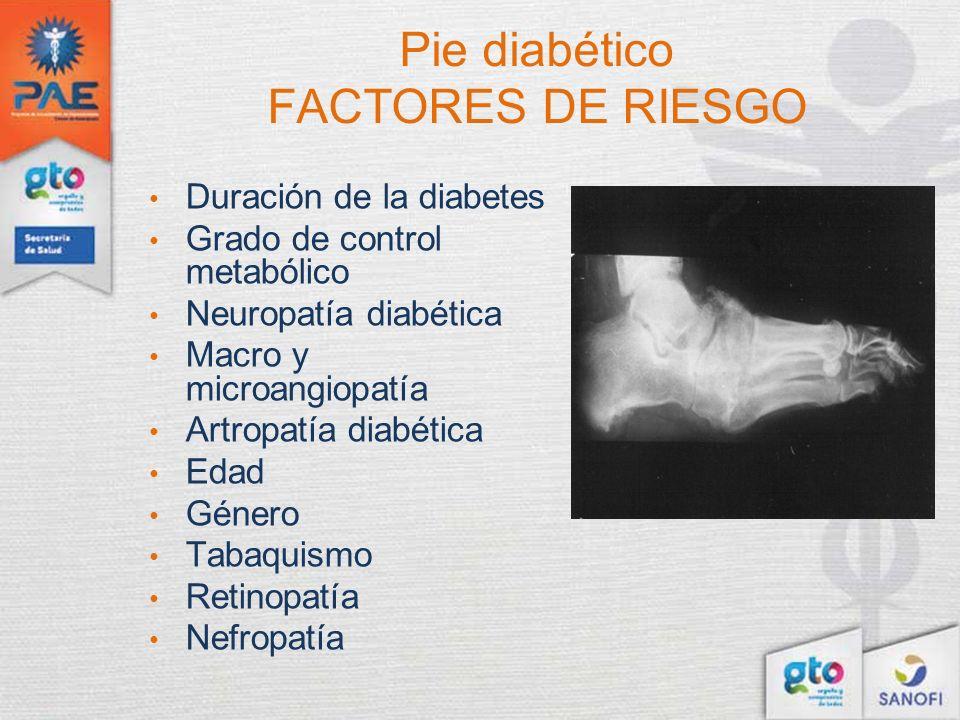Pie diabético FACTORES DE RIESGO Duración de la diabetes Grado de control metabólico Neuropatía diabética Macro y microangiopatía Artropatía diabética