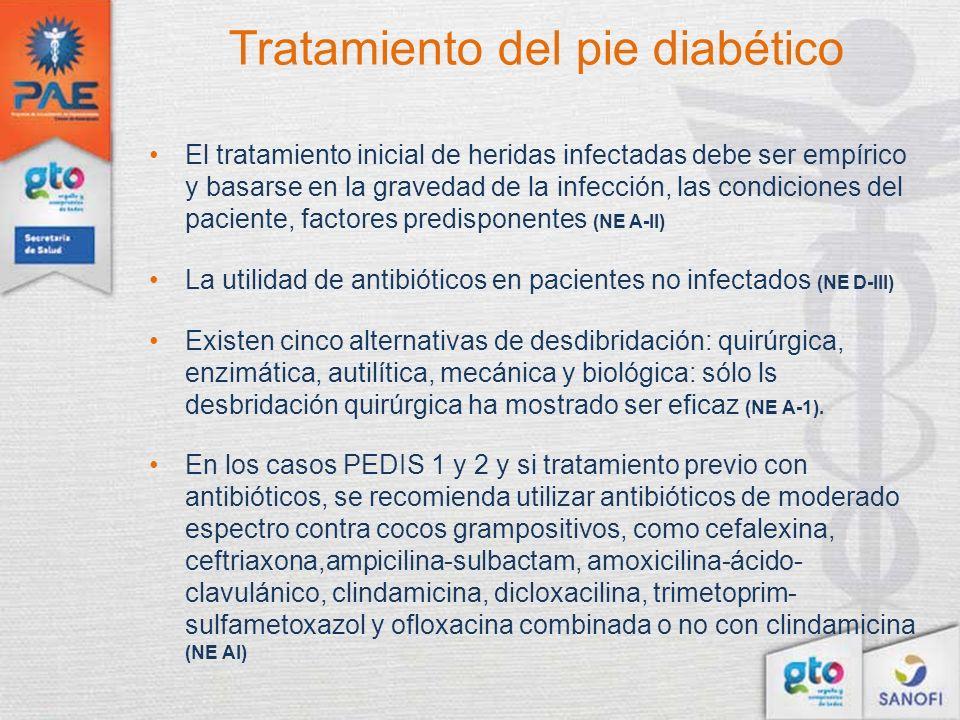 Tratamiento del pie diabético El tratamiento inicial de heridas infectadas debe ser empírico y basarse en la gravedad de la infección, las condiciones