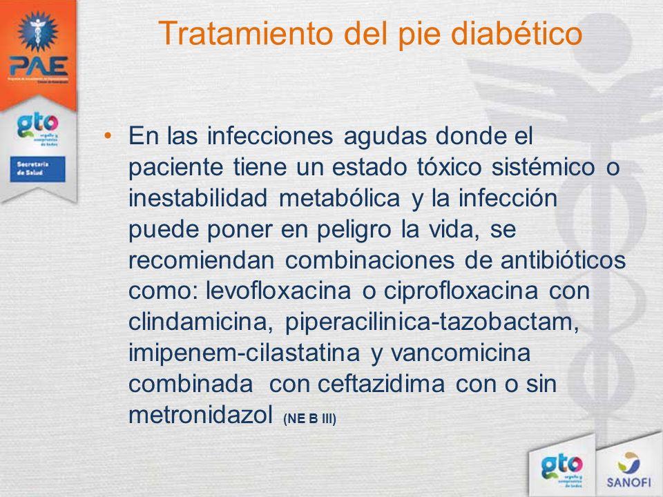 Tratamiento del pie diabético En las infecciones agudas donde el paciente tiene un estado tóxico sistémico o inestabilidad metabólica y la infección p