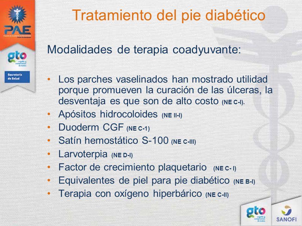 Tratamiento del pie diabético Modalidades de terapia coadyuvante: Los parches vaselinados han mostrado utilidad porque promueven la curación de las úl