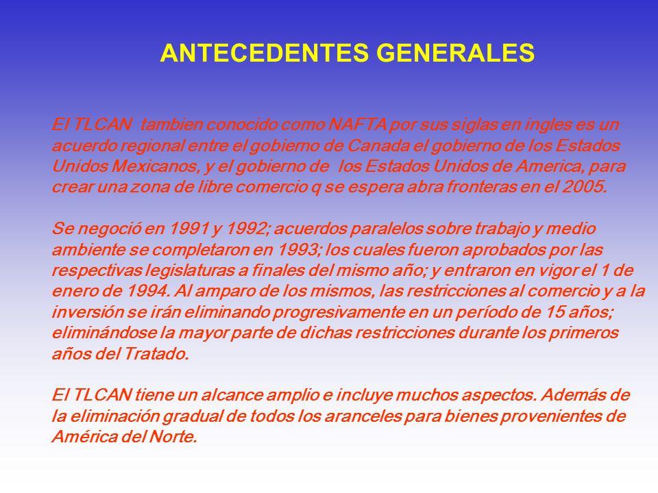 ANTECEDENTES GENERALES El TLCAN tambien conocido como NAFTA por sus siglas en ingles es un acuerdo regional entre el gobierno de Canada el gobierno de