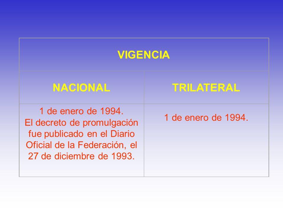 VIGENCIA NACIONALTRILATERAL 1 de enero de 1994. El decreto de promulgación fue publicado en el Diario Oficial de la Federación, el 27 de diciembre de