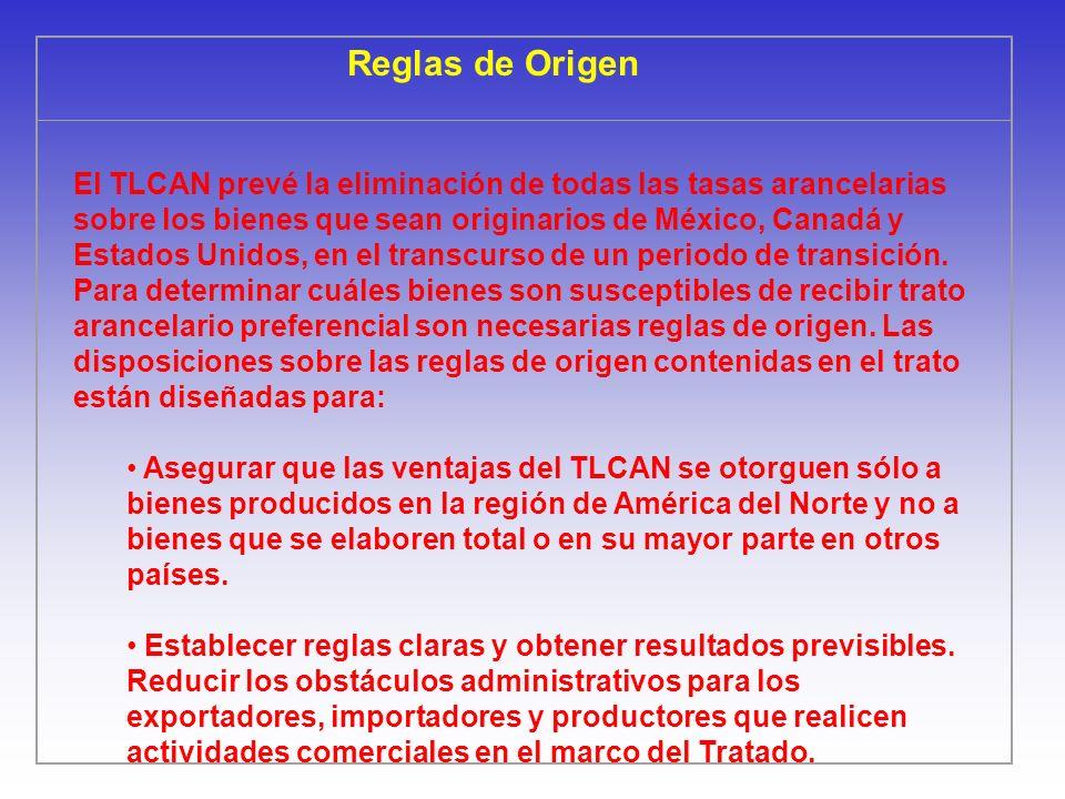 Reglas de Origen El TLCAN prevé la eliminación de todas las tasas arancelarias sobre los bienes que sean originarios de México, Canadá y Estados Unido