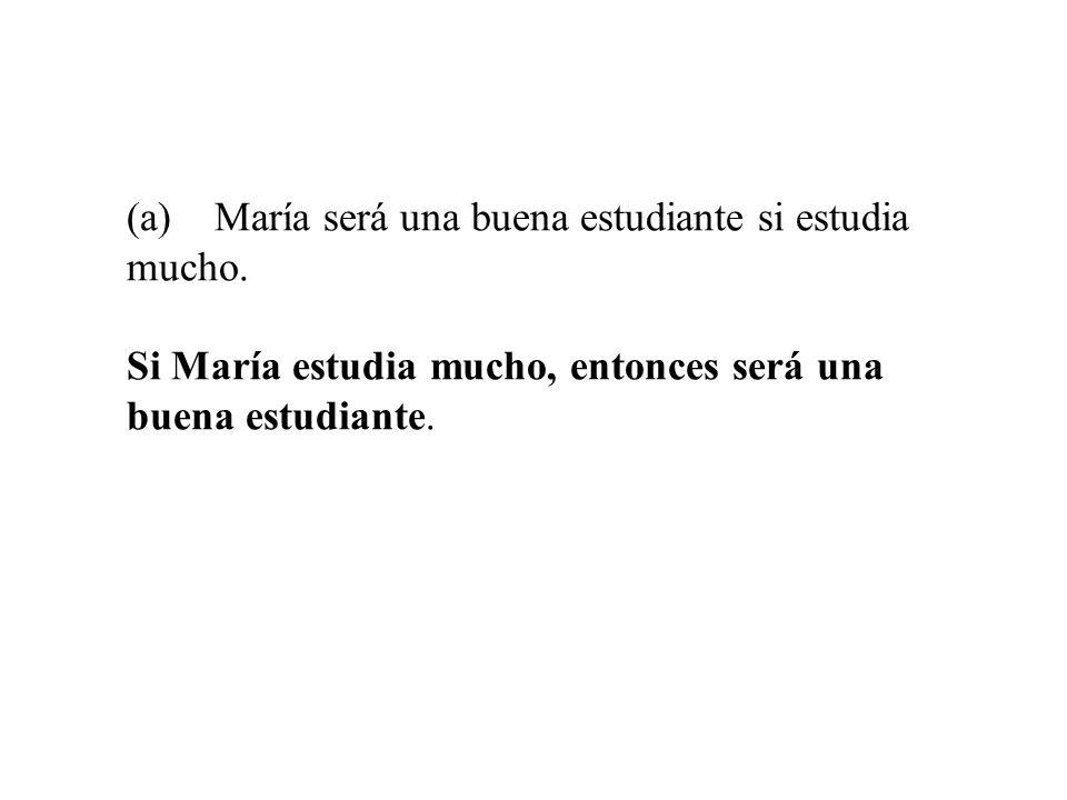 (a) María será una buena estudiante si estudia mucho. Si María estudia mucho, entonces será una buena estudiante.