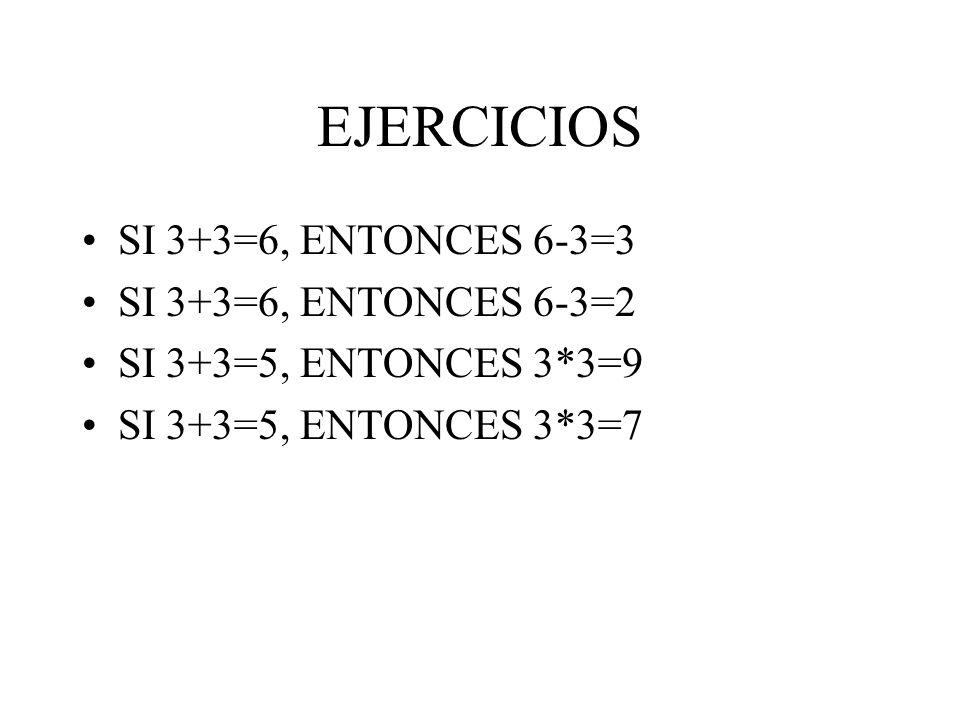 EJERCICIOS SI 3+3=6, ENTONCES 6-3=3 SI 3+3=6, ENTONCES 6-3=2 SI 3+3=5, ENTONCES 3*3=9 SI 3+3=5, ENTONCES 3*3=7