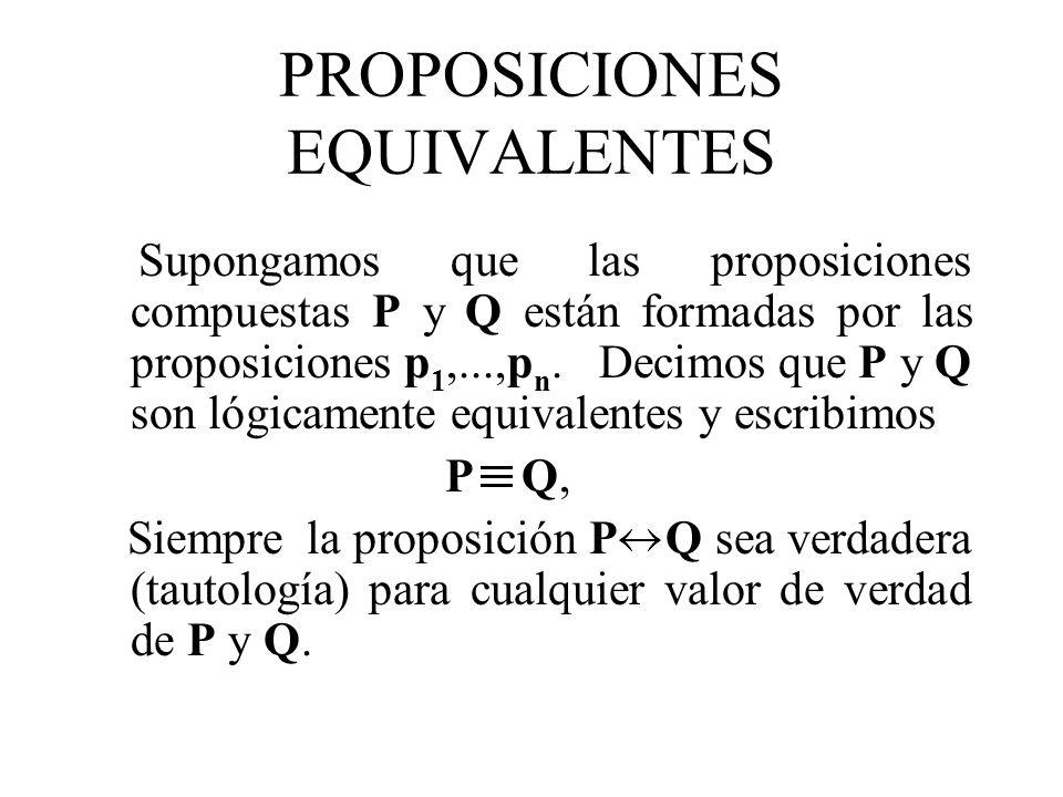PROPOSICIONES EQUIVALENTES Supongamos que las proposiciones compuestas P y Q están formadas por las proposiciones p 1,...,p n. Decimos que P y Q son l