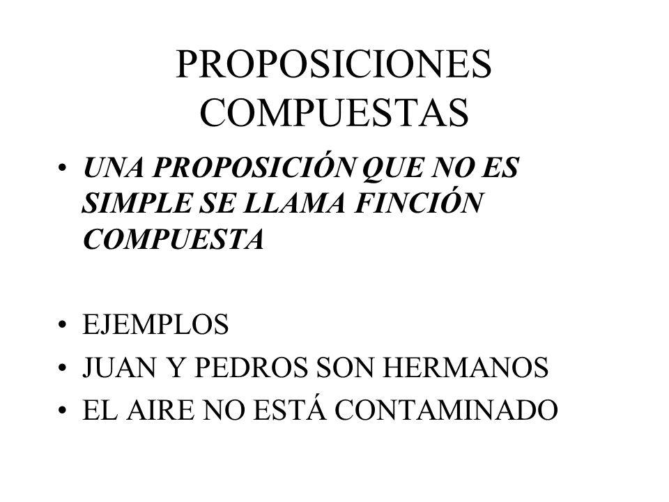 PROPOSICIONES COMPUESTAS UNA PROPOSICIÓN QUE NO ES SIMPLE SE LLAMA FINCIÓN COMPUESTA EJEMPLOS JUAN Y PEDROS SON HERMANOS EL AIRE NO ESTÁ CONTAMINADO