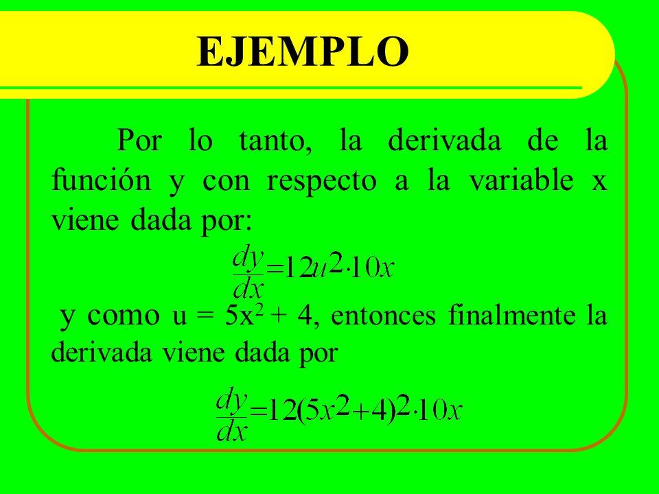 Por lo tanto, la derivada de la función y con respecto a la variable x viene dada por: y como u = 5x 2 + 4, entonces finalmente la derivada viene dada