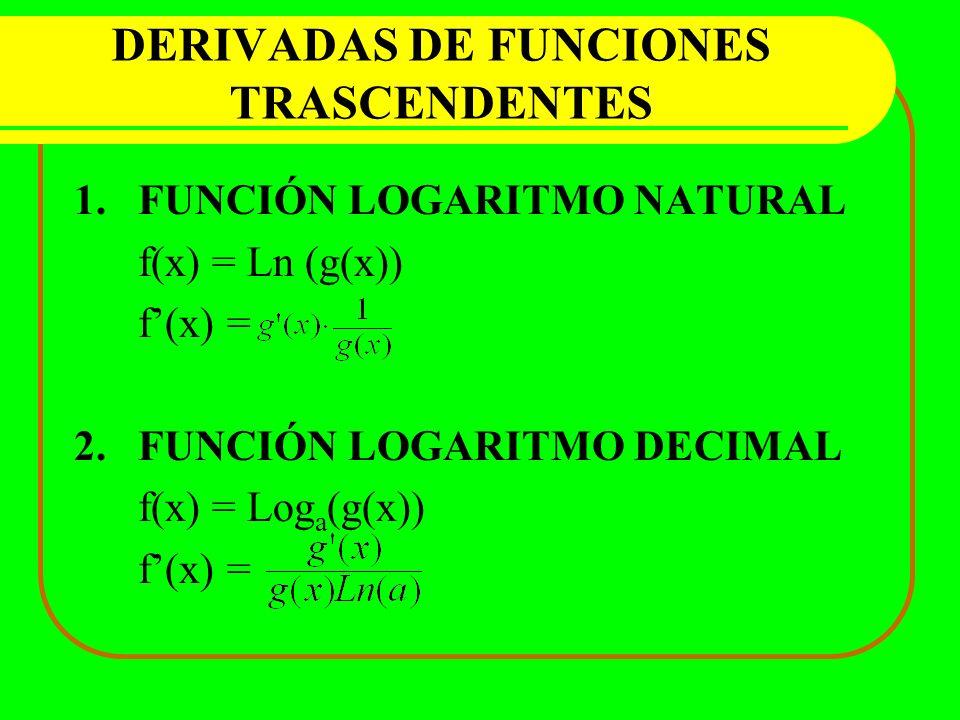 DERIVADAS DE FUNCIONES TRASCENDENTES 1.FUNCIÓN LOGARITMO NATURAL f(x) = Ln (g(x)) f(x) = 2.FUNCIÓN LOGARITMO DECIMAL f(x) = Log a (g(x)) f(x) =
