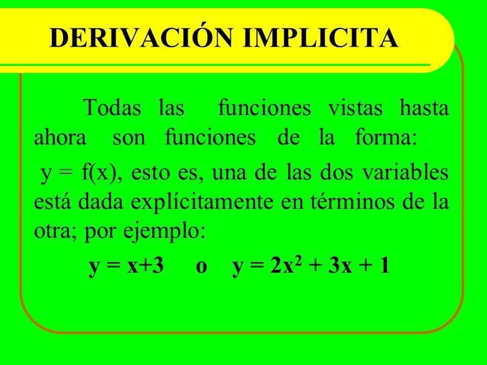 DERIVACIÓN IMPLICITA Todas las funciones vistas hasta ahora son funciones de la forma: y = f(x), esto es, una de las dos variables está dada explícita