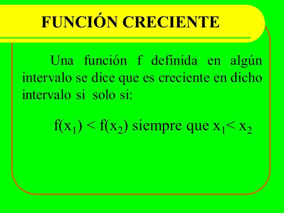 FUNCIÓN CRECIENTE Una función f definida en algún intervalo se dice que es creciente en dicho intervalo si solo si: f(x 1 ) < f(x 2 ) siempre que x 1