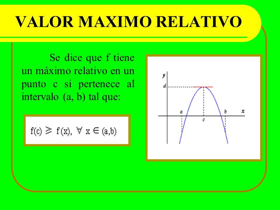VALOR MAXIMO RELATIVO Se dice que f tiene un máximo relativo en un punto c si pertenece al intervalo (a, b) tal que: