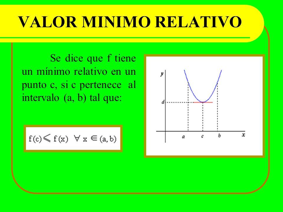 VALOR MINIMO RELATIVO Se dice que f tiene un mínimo relativo en un punto c, si c pertenece al intervalo (a, b) tal que: