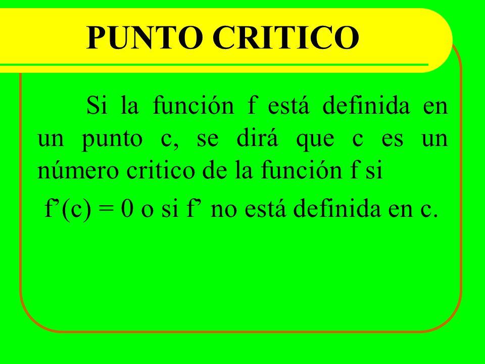 PUNTO CRITICO Si la función f está definida en un punto c, se dirá que c es un número critico de la función f si f(c) = 0 o si f no está definida en c