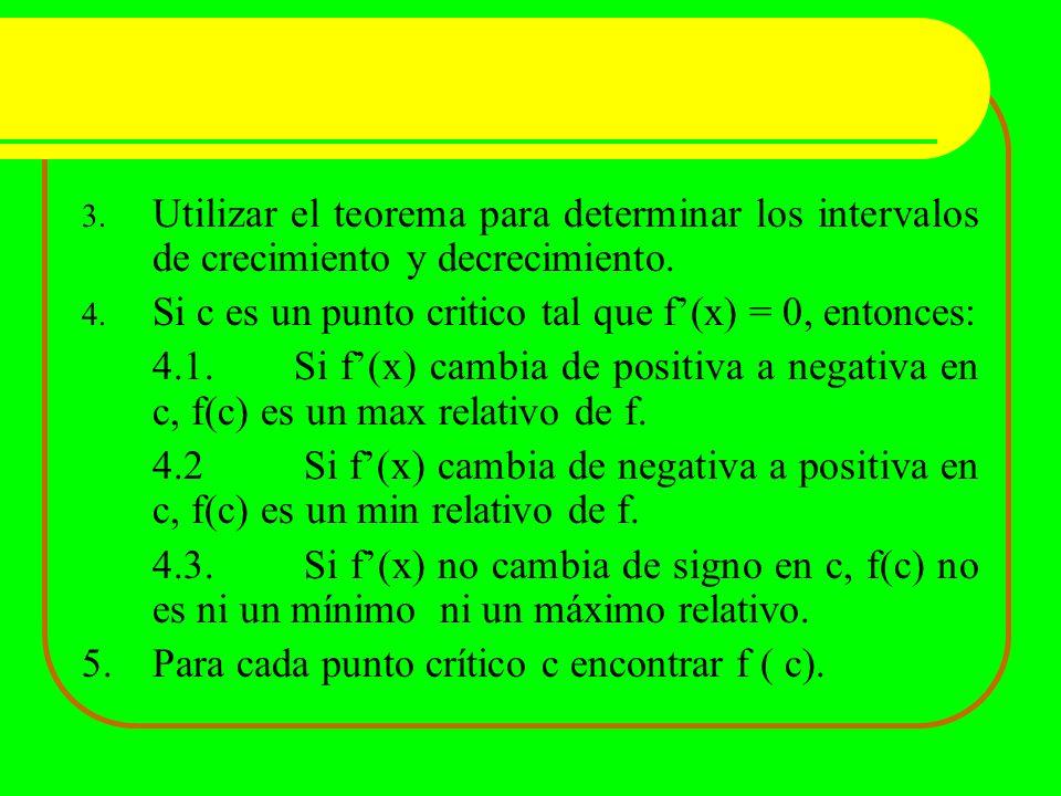 3. Utilizar el teorema para determinar los intervalos de crecimiento y decrecimiento. 4. Si c es un punto critico tal que f(x) = 0, entonces: 4.1.Si f