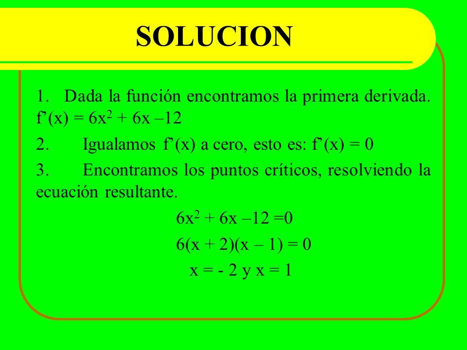 SOLUCION 1. Dada la función encontramos la primera derivada. f(x) = 6x 2 + 6x –12 2.Igualamos f(x) a cero, esto es: f(x) = 0 3.Encontramos los puntos