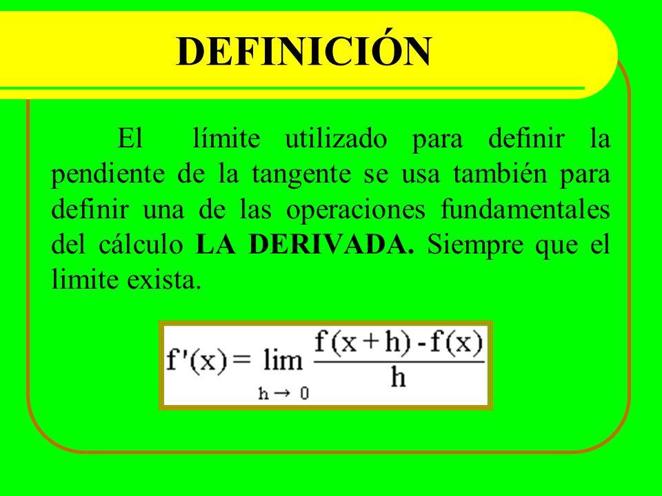 DEFINICIÓN El límite utilizado para definir la pendiente de la tangente se usa también para definir una de las operaciones fundamentales del cálculo L