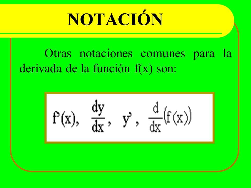 NOTACIÓN Otras notaciones comunes para la derivada de la función f(x) son: