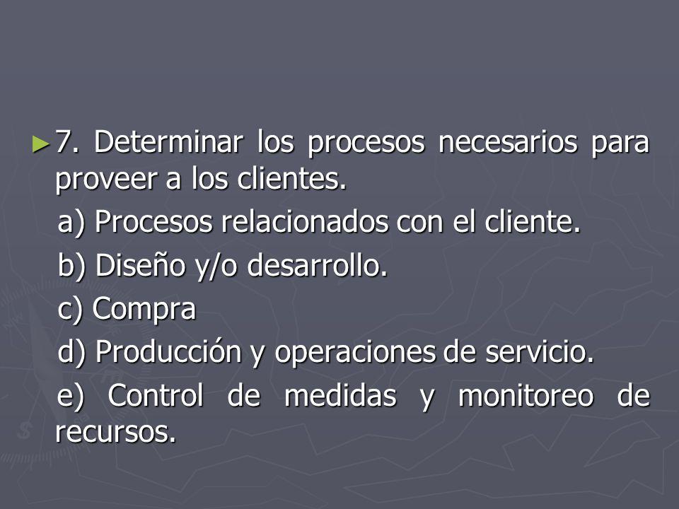 7. Determinar los procesos necesarios para proveer a los clientes. 7. Determinar los procesos necesarios para proveer a los clientes. a) Procesos rela