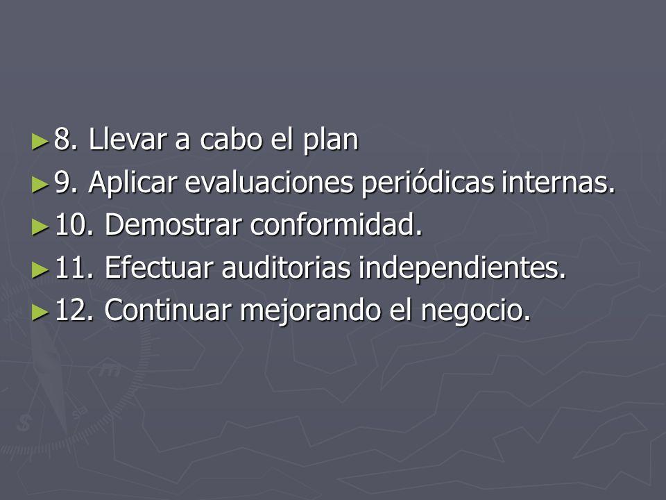 8. Llevar a cabo el plan 8. Llevar a cabo el plan 9. Aplicar evaluaciones periódicas internas. 9. Aplicar evaluaciones periódicas internas. 10. Demost