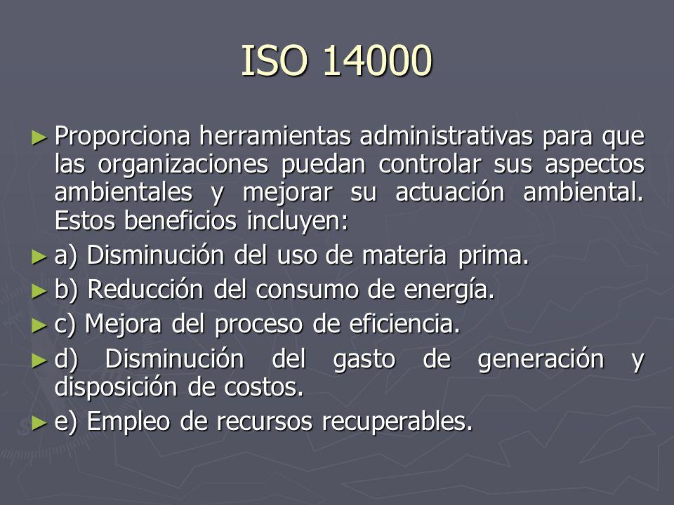 ISO 14000 Proporciona herramientas administrativas para que las organizaciones puedan controlar sus aspectos ambientales y mejorar su actuación ambien