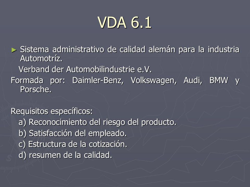 VDA 6.1 Sistema administrativo de calidad alemán para la industria Automotríz. Sistema administrativo de calidad alemán para la industria Automotríz.