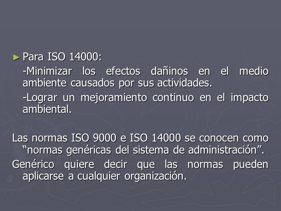 Para ISO 14000: Para ISO 14000: -Minimizar los efectos dañinos en el medio ambiente causados por sus actividades. -Minimizar los efectos dañinos en el